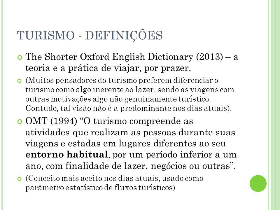 TURISMO - DEFINIÇÕES The Shorter Oxford English Dictionary (2013) – a teoria e a prática de viajar, por prazer.