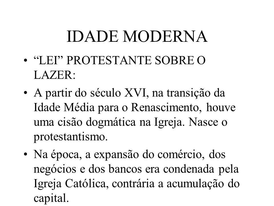 IDADE MODERNA LEI PROTESTANTE SOBRE O LAZER: