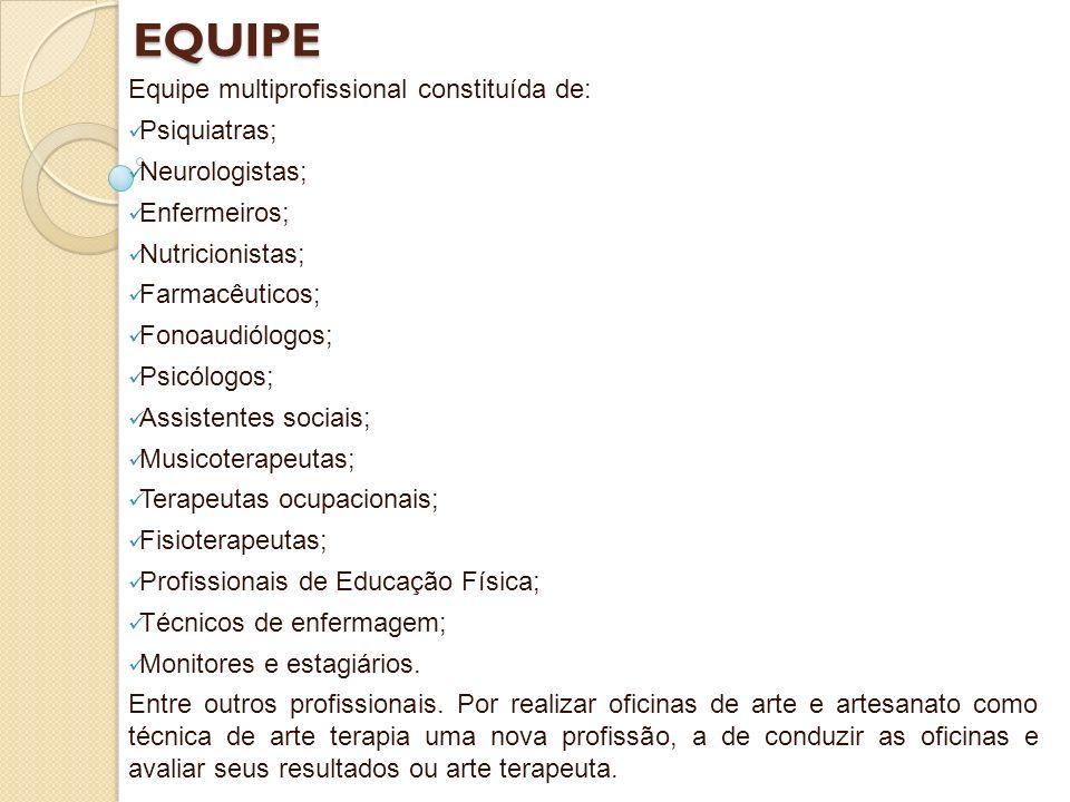 EQUIPE Equipe multiprofissional constituída de: Psiquiatras;