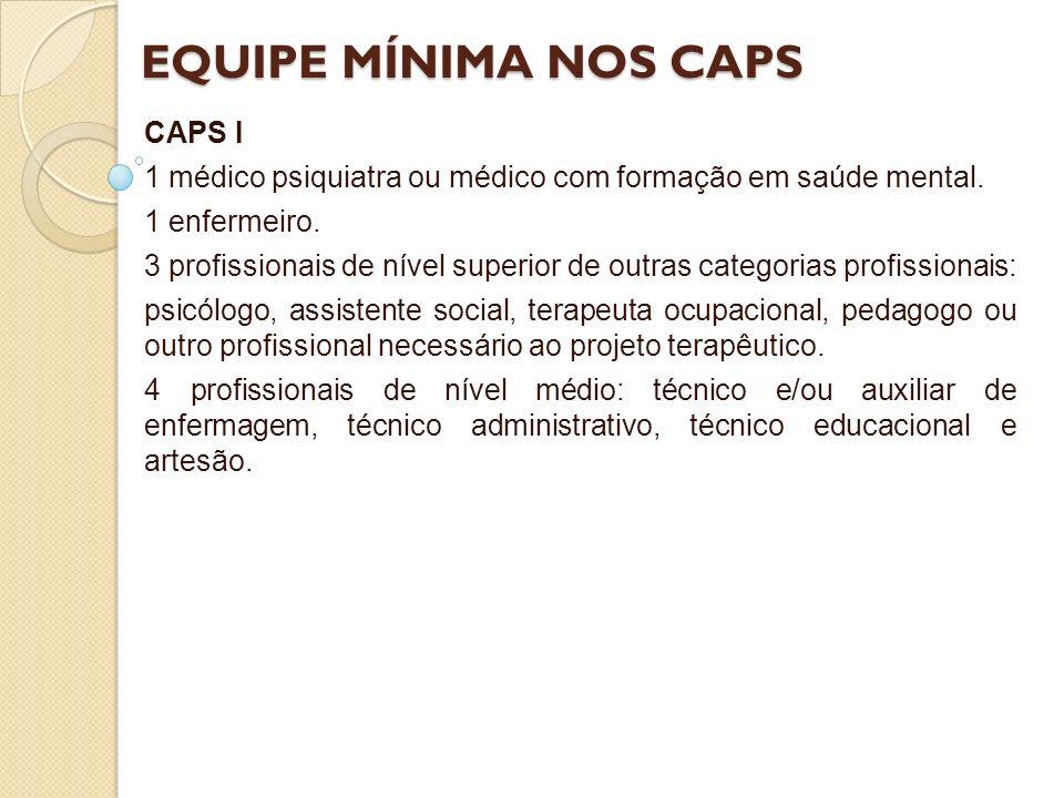 EQUIPE MÍNIMA NOS CAPS CAPS I