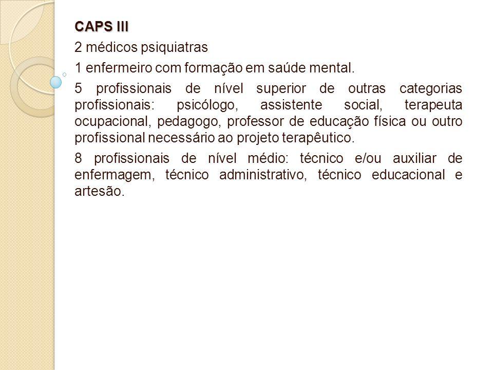 CAPS III 2 médicos psiquiatras. 1 enfermeiro com formação em saúde mental.