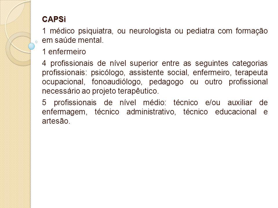 CAPSi 1 médico psiquiatra, ou neurologista ou pediatra com formação em saúde mental. 1 enfermeiro.