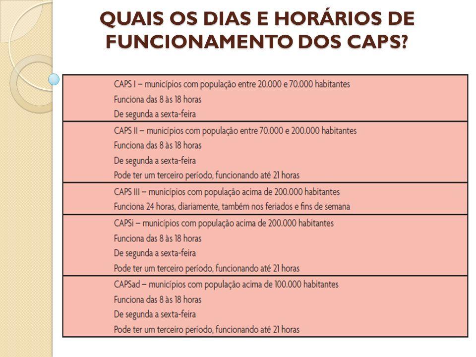 QUAIS OS DIAS E HORÁRIOS DE FUNCIONAMENTO DOS CAPS