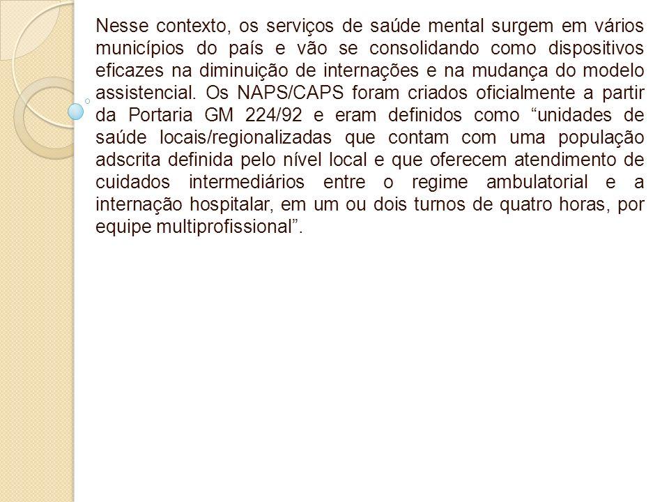 Nesse contexto, os serviços de saúde mental surgem em vários municípios do país e vão se consolidando como dispositivos eficazes na diminuição de internações e na mudança do modelo assistencial.