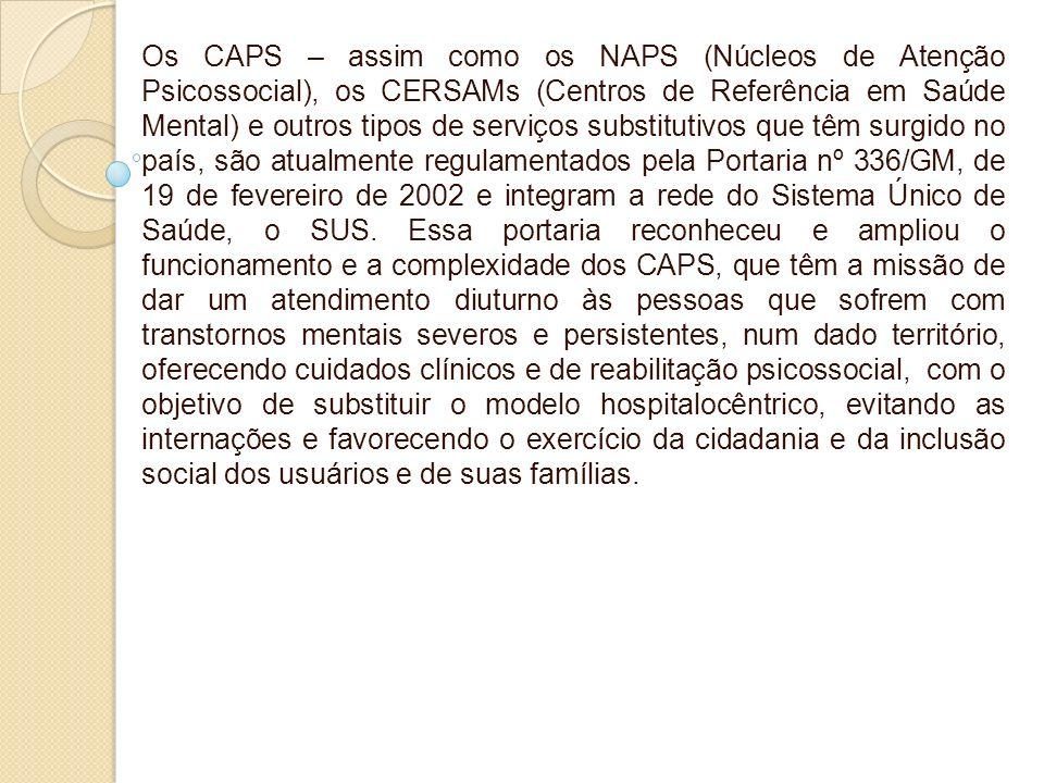 Os CAPS – assim como os NAPS (Núcleos de Atenção Psicossocial), os CERSAMs (Centros de Referência em Saúde Mental) e outros tipos de serviços substitutivos que têm surgido no país, são atualmente regulamentados pela Portaria nº 336/GM, de 19 de fevereiro de 2002 e integram a rede do Sistema Único de Saúde, o SUS.