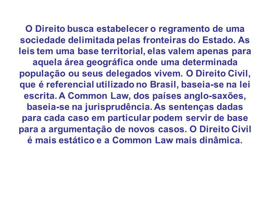 O Direito busca estabelecer o regramento de uma sociedade delimitada pelas fronteiras do Estado.