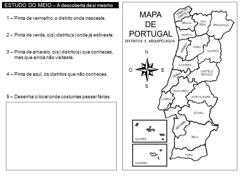 MAPA DE PORTUGAL ESTUDO DO MEIO – À descoberta de si mesmo