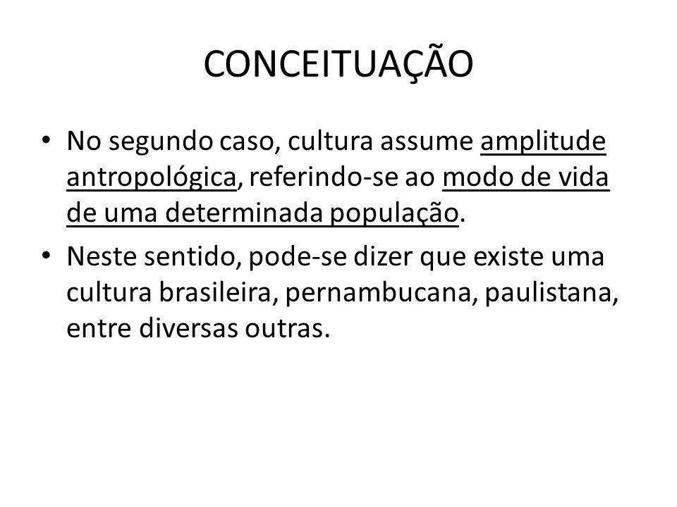 CONCEITUAÇÃONo segundo caso, cultura assume amplitude antropológica, referindo-se ao modo de vida de uma determinada população.