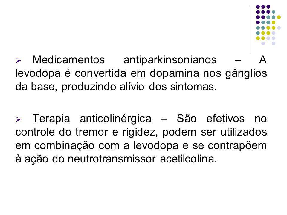 Medicamentos antiparkinsonianos – A levodopa é convertida em dopamina nos gânglios da base, produzindo alívio dos sintomas.