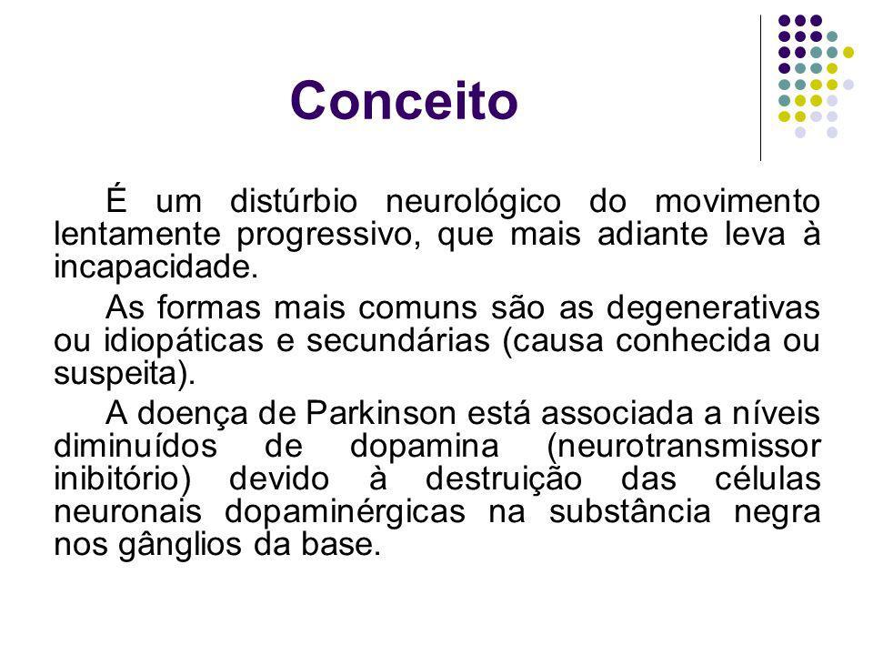 Conceito É um distúrbio neurológico do movimento lentamente progressivo, que mais adiante leva à incapacidade.