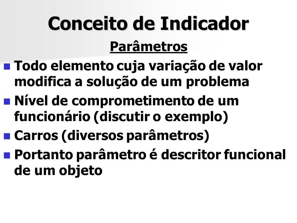 Conceito de Indicador Parâmetros