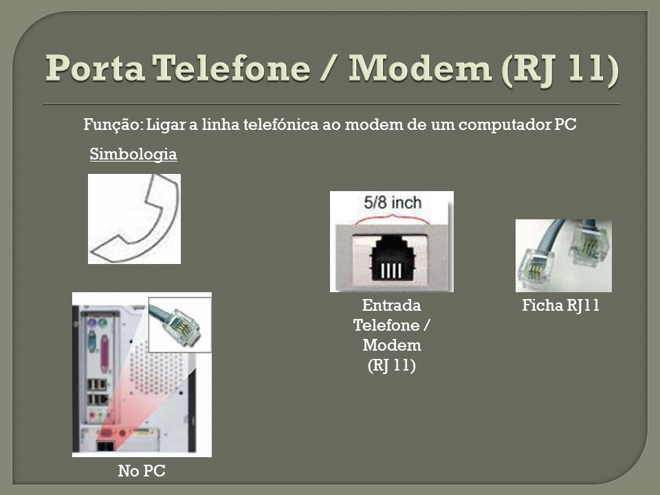 Porta Telefone / Modem (RJ 11)