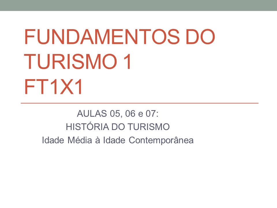FUNDAMENTOS DO TURISMO 1 FT1X1