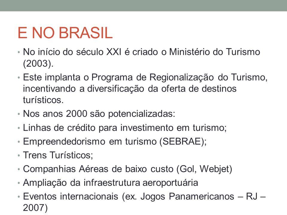 E NO BRASIL No início do século XXI é criado o Ministério do Turismo (2003).