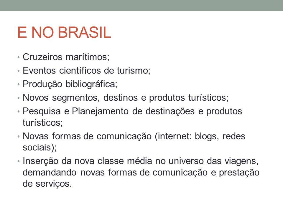 E NO BRASIL Cruzeiros marítimos; Eventos científicos de turismo;