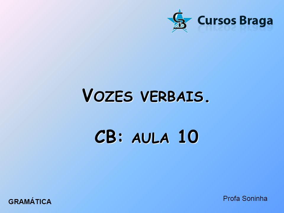 Vozes verbais. CB: aula 10 Profa Soninha GRAMÁTICA
