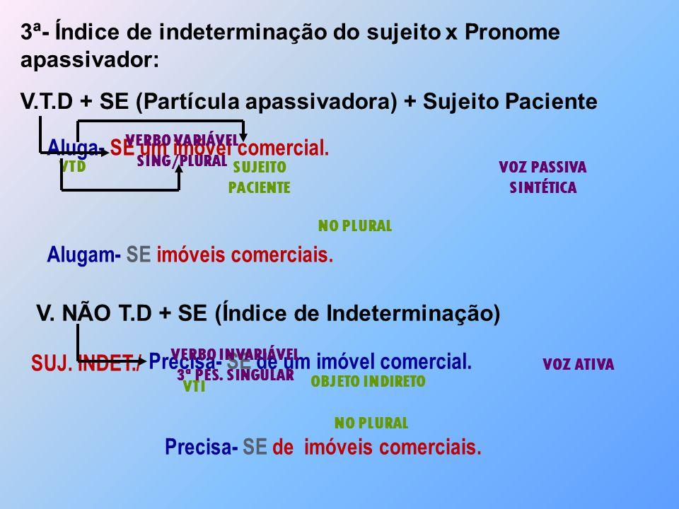 3ª- Índice de indeterminação do sujeito x Pronome apassivador: