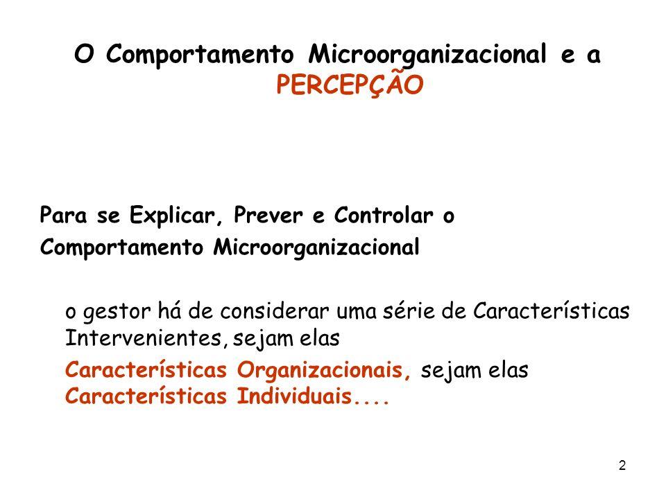 O Comportamento Microorganizacional e a PERCEPÇÃO