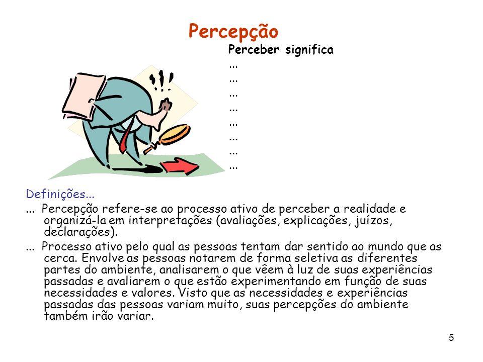 Percepção Perceber significa ... Definições...