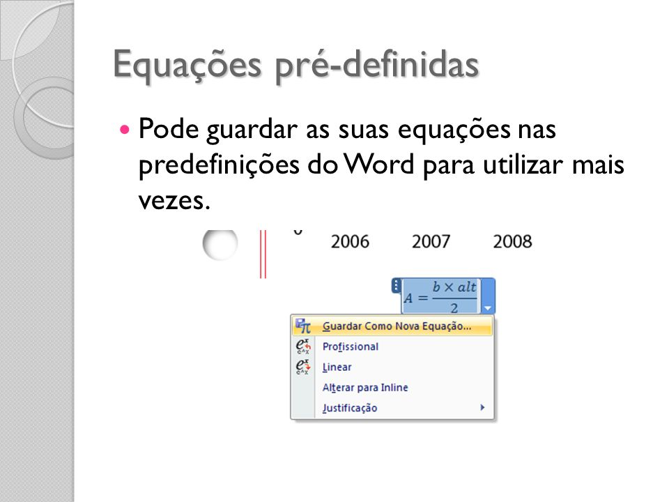 Equações pré-definidas