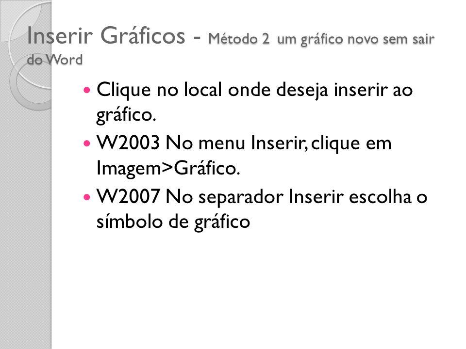 Inserir Gráficos - Método 2 um gráfico novo sem sair do Word