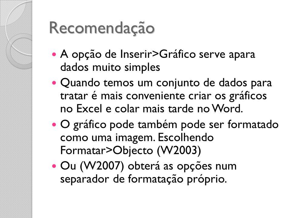 Recomendação A opção de Inserir>Gráfico serve apara dados muito simples.