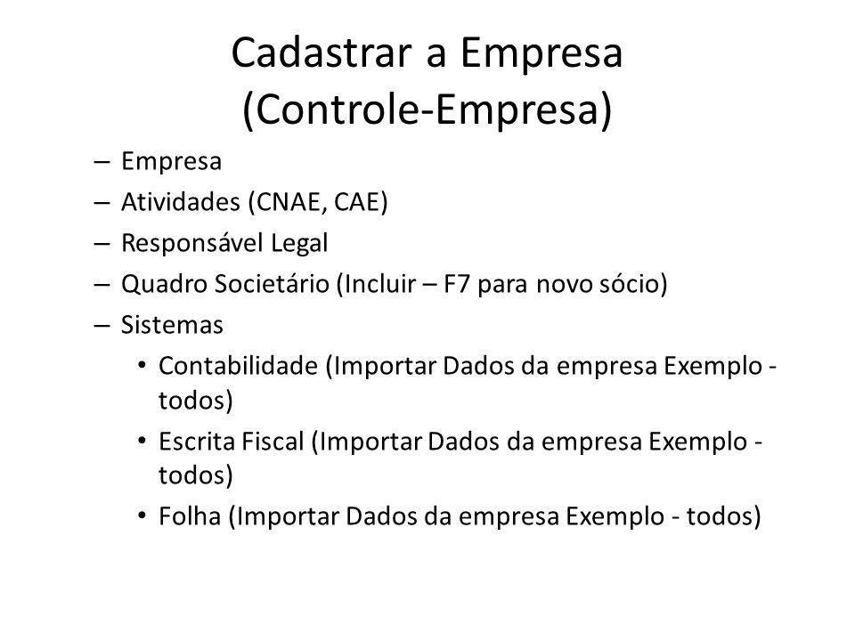 Cadastrar a Empresa (Controle-Empresa)