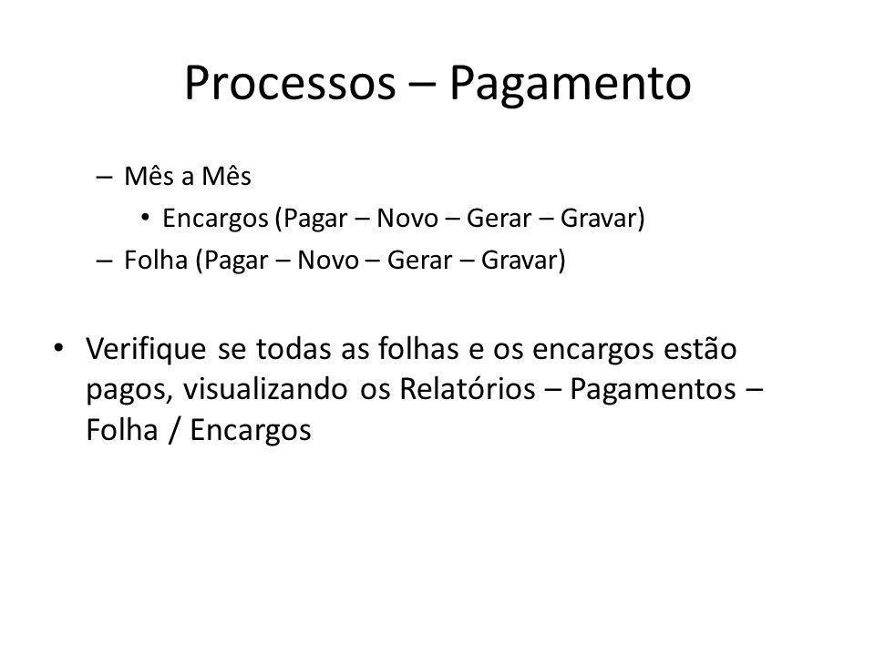 Processos – PagamentoMês a Mês. Encargos (Pagar – Novo – Gerar – Gravar) Folha (Pagar – Novo – Gerar – Gravar)