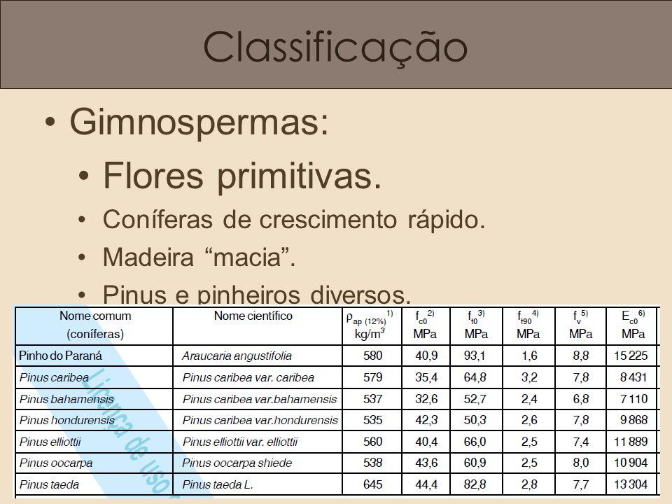 Classificação Gimnospermas: Flores primitivas.