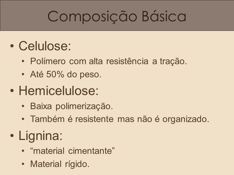 Composição Básica Celulose: Hemicelulose: Lignina:
