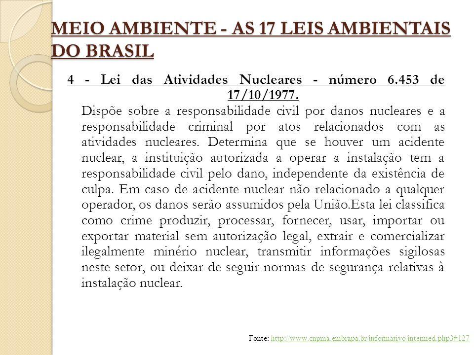 MEIO AMBIENTE - AS 17 LEIS AMBIENTAIS DO BRASIL