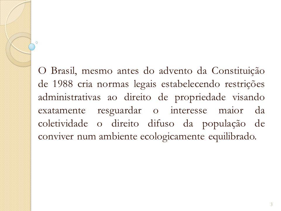 O Brasil, mesmo antes do advento da Constituição de 1988 cria normas legais estabelecendo restrições administrativas ao direito de propriedade visando exatamente resguardar o interesse maior da coletividade o direito difuso da população de conviver num ambiente ecologicamente equilibrado.