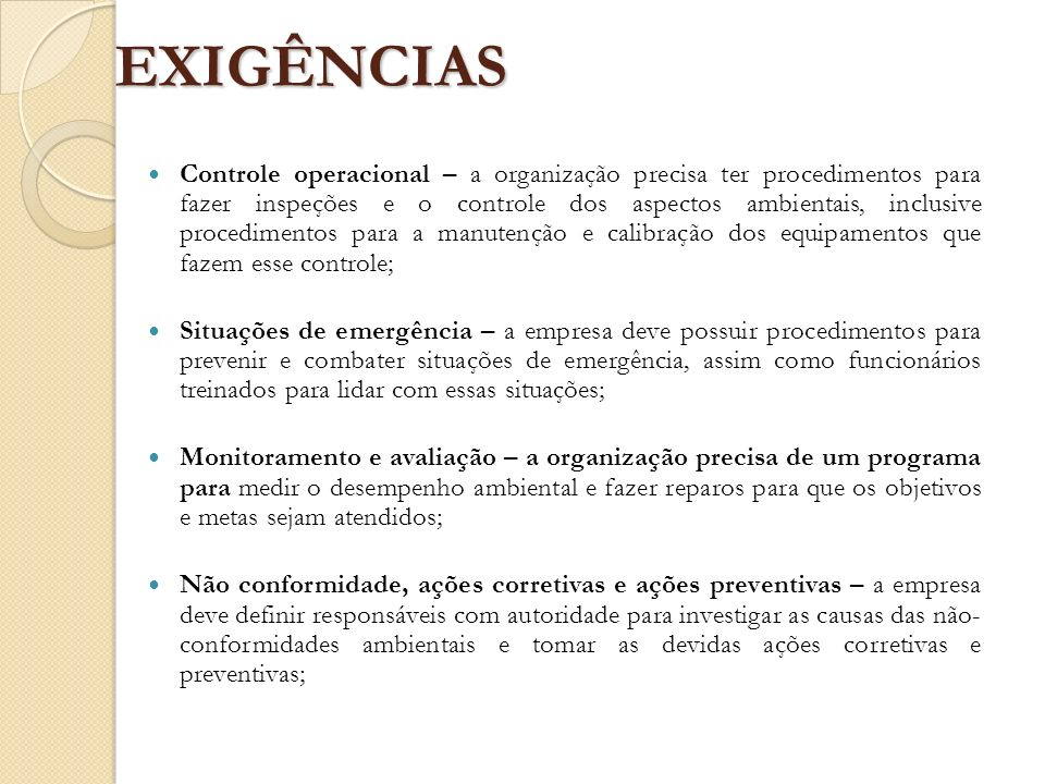 EXIGÊNCIAS