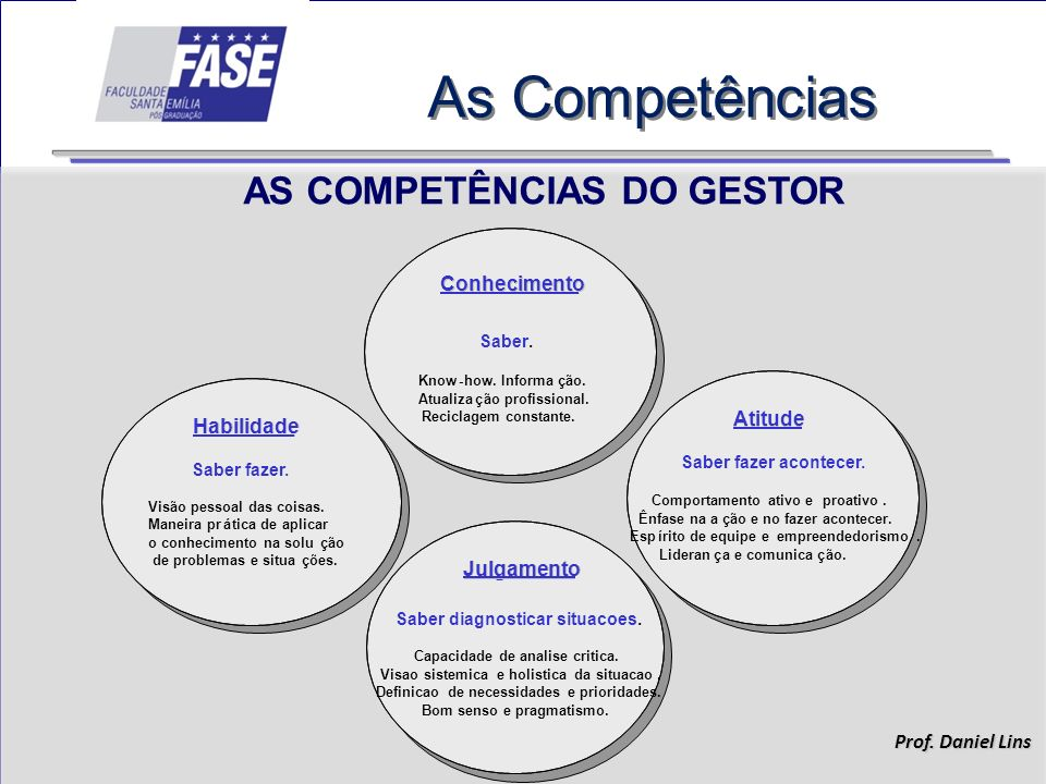 AS COMPETÊNCIAS DO GESTOR