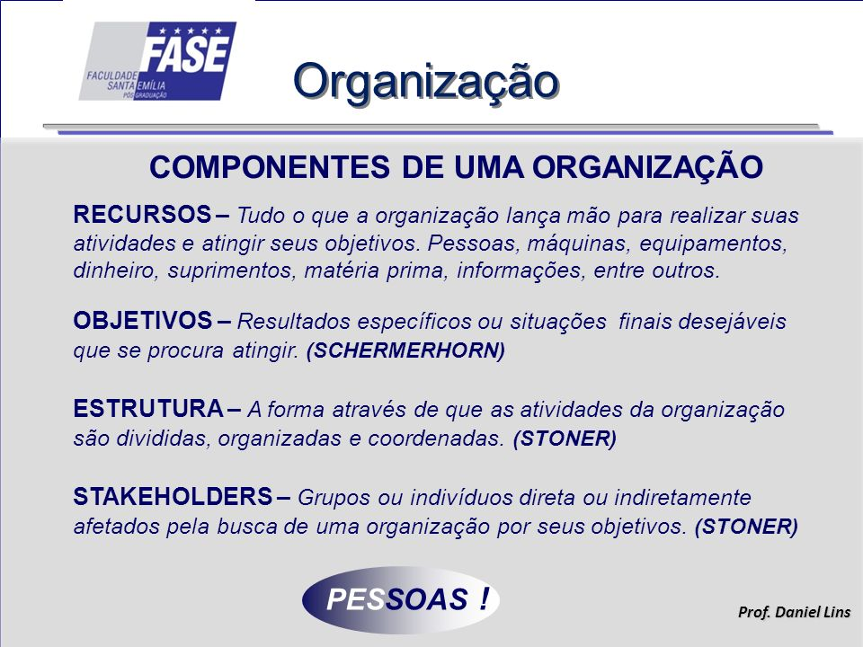 Organização COMPONENTES DE UMA ORGANIZAÇÃO PESSOAS !