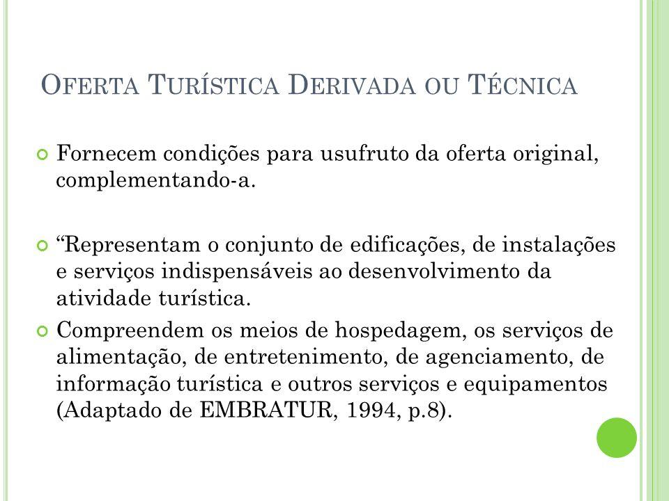 Oferta Turística Derivada ou Técnica