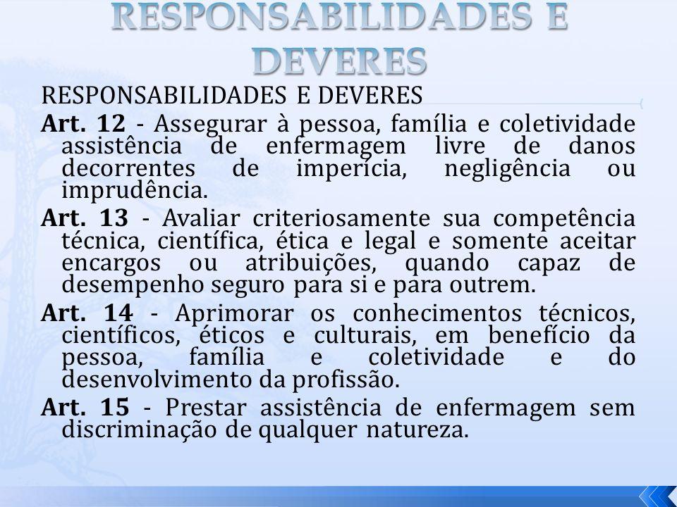 RESPONSABILIDADES E DEVERES
