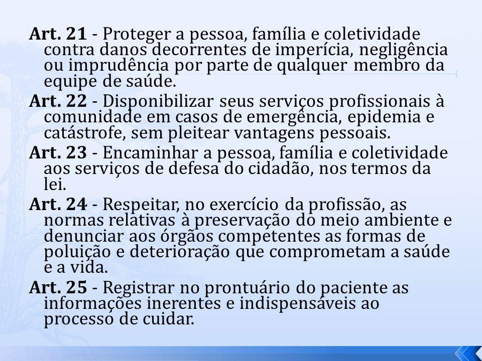 Art. 21 - Proteger a pessoa, família e coletividade contra danos decorrentes de imperícia, negligência ou imprudência por parte de qualquer membro da equipe de saúde.