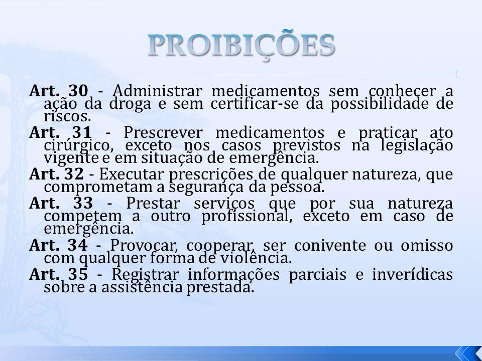 PROIBIÇÕES Art. 30 - Administrar medicamentos sem conhecer a ação da droga e sem certificar-se da possibilidade de riscos.