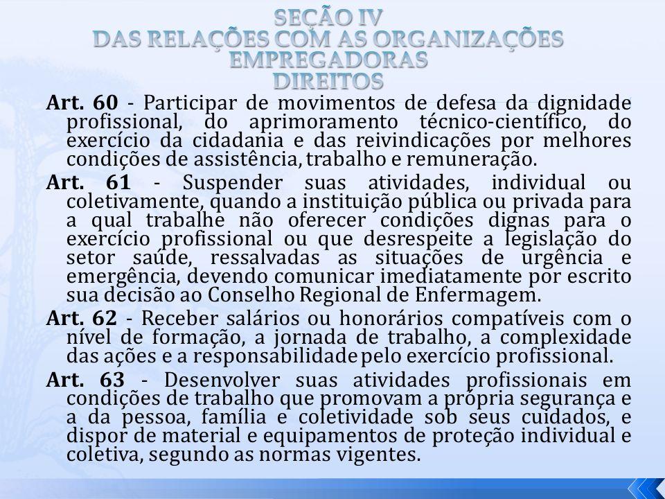SEÇÃO IV DAS RELAÇÕES COM AS ORGANIZAÇÕES EMPREGADORAS DIREITOS