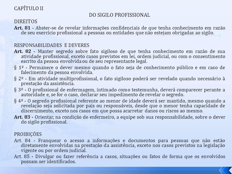 DO SIGILO PROFISSIONAL