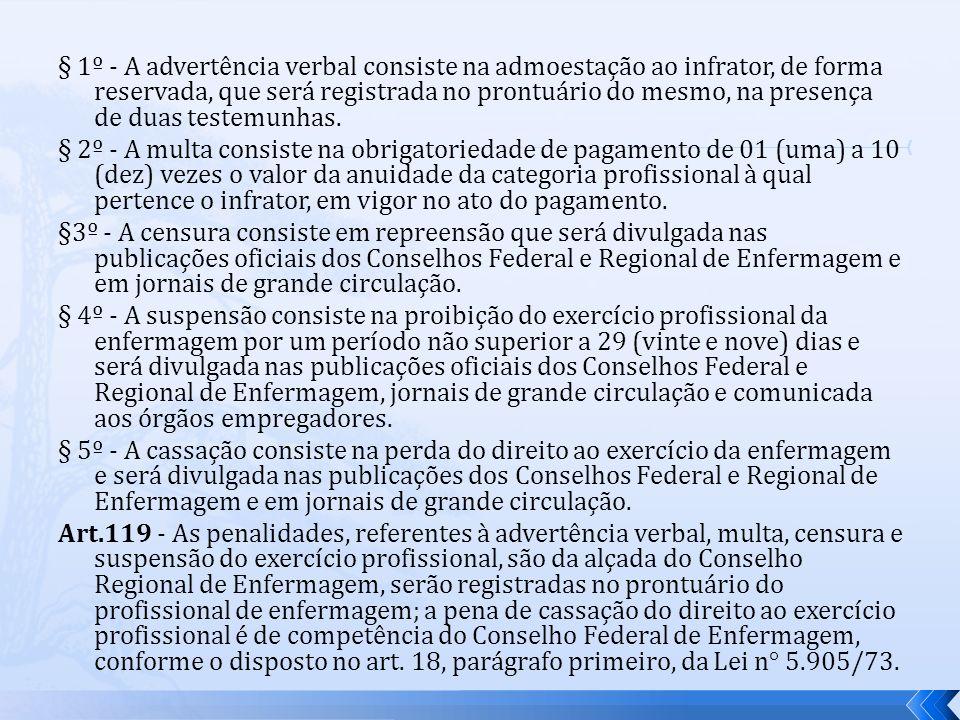 § 1º - A advertência verbal consiste na admoestação ao infrator, de forma reservada, que será registrada no prontuário do mesmo, na presença de duas testemunhas.
