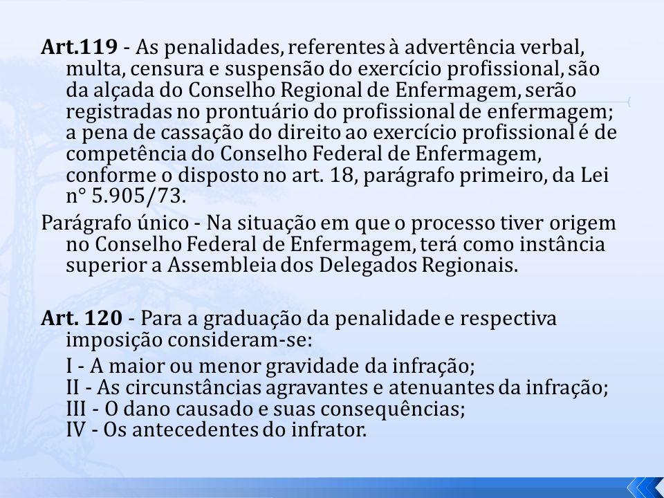 Art.119 - As penalidades, referentes à advertência verbal, multa, censura e suspensão do exercício profissional, são da alçada do Conselho Regional de Enfermagem, serão registradas no prontuário do profissional de enfermagem; a pena de cassação do direito ao exercício profissional é de competência do Conselho Federal de Enfermagem, conforme o disposto no art. 18, parágrafo primeiro, da Lei n° 5.905/73.