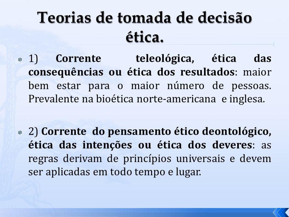 Teorias de tomada de decisão ética.
