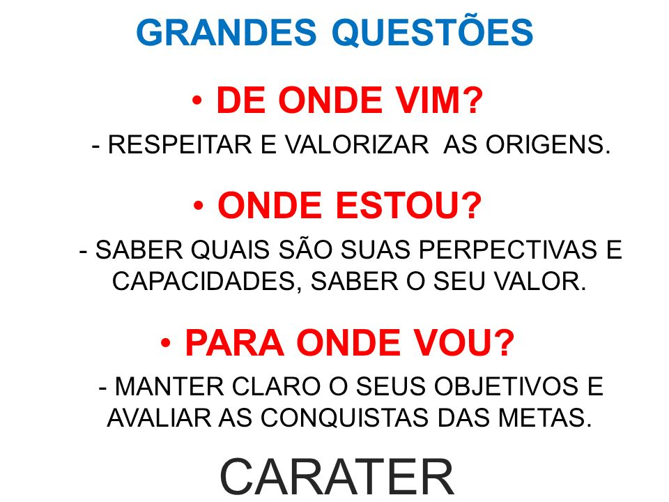 CARATER GRANDES QUESTÕES DE ONDE VIM ONDE ESTOU PARA ONDE VOU