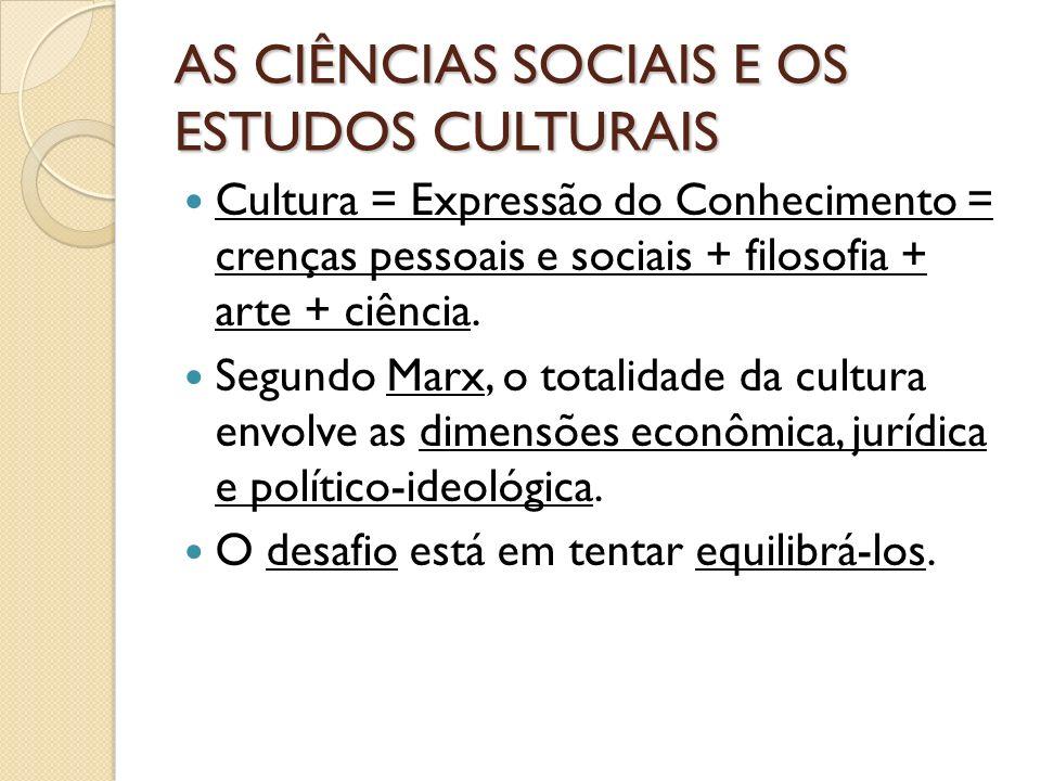 AS CIÊNCIAS SOCIAIS E OS ESTUDOS CULTURAIS