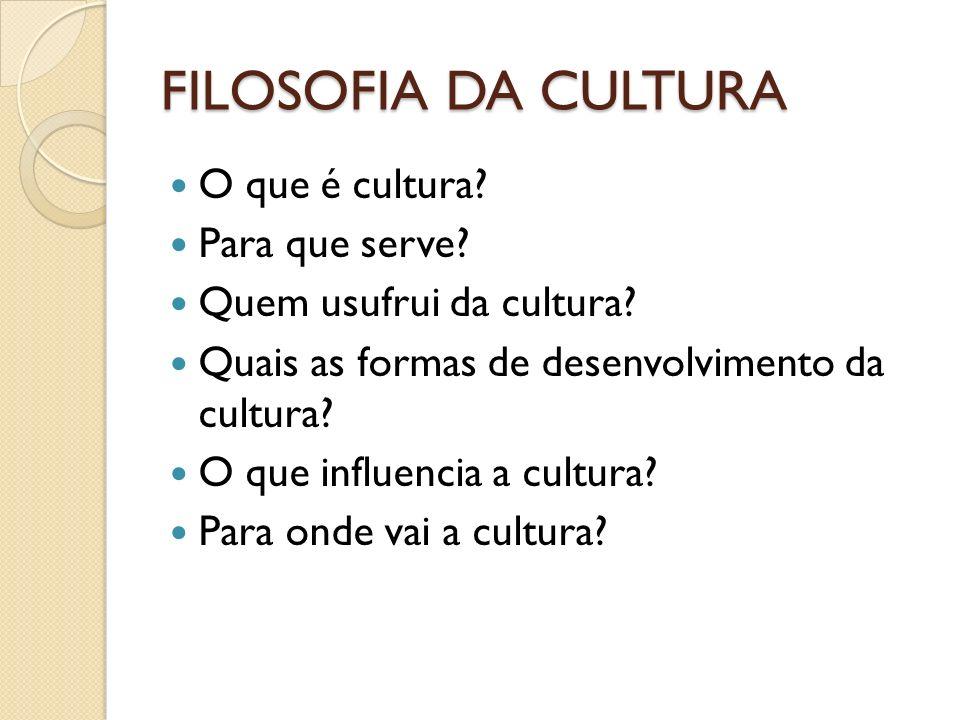 FILOSOFIA DA CULTURA O que é cultura Para que serve