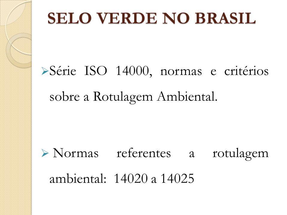 SELO VERDE NO BRASIL Série ISO 14000, normas e critérios sobre a Rotulagem Ambiental.