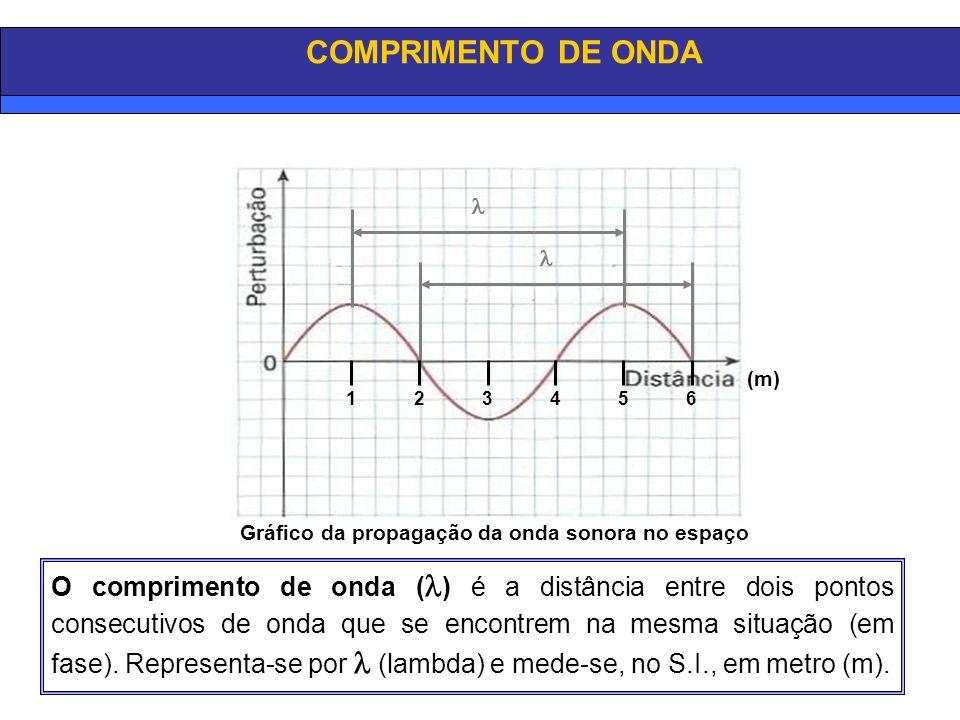 COMPRIMENTO DE ONDA   1. 2. 3. 4. 5. 6. (m) Gráfico da propagação da onda sonora no espaço.