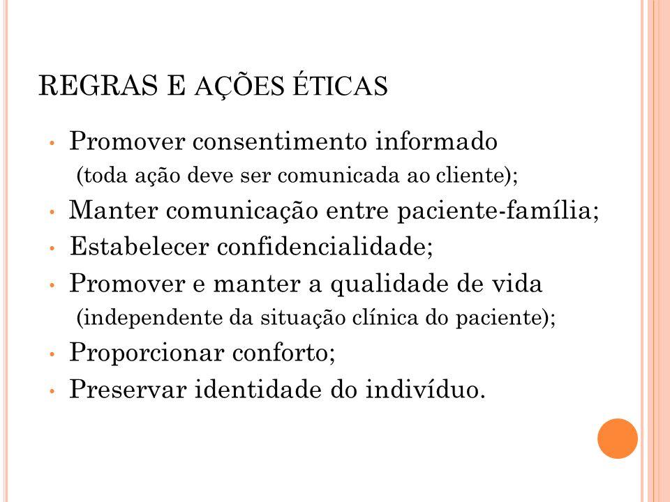 REGRAS E AÇÕES ÉTICAS Promover consentimento informado